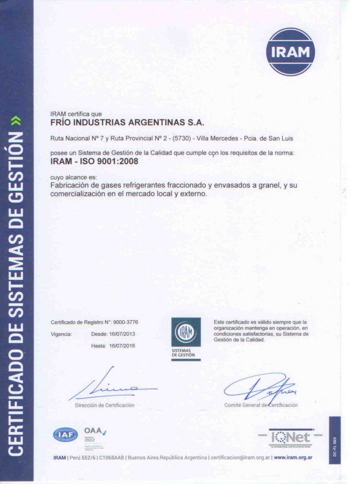 Certificado Iram